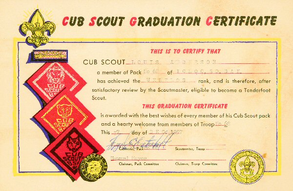 scout certificates template - cub scouting page
